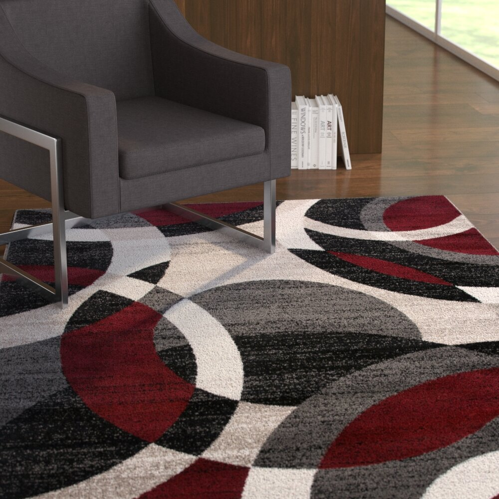 Wrought Studio Archeveque Abstract Burgundy White Area Rug Reviews Wayfair