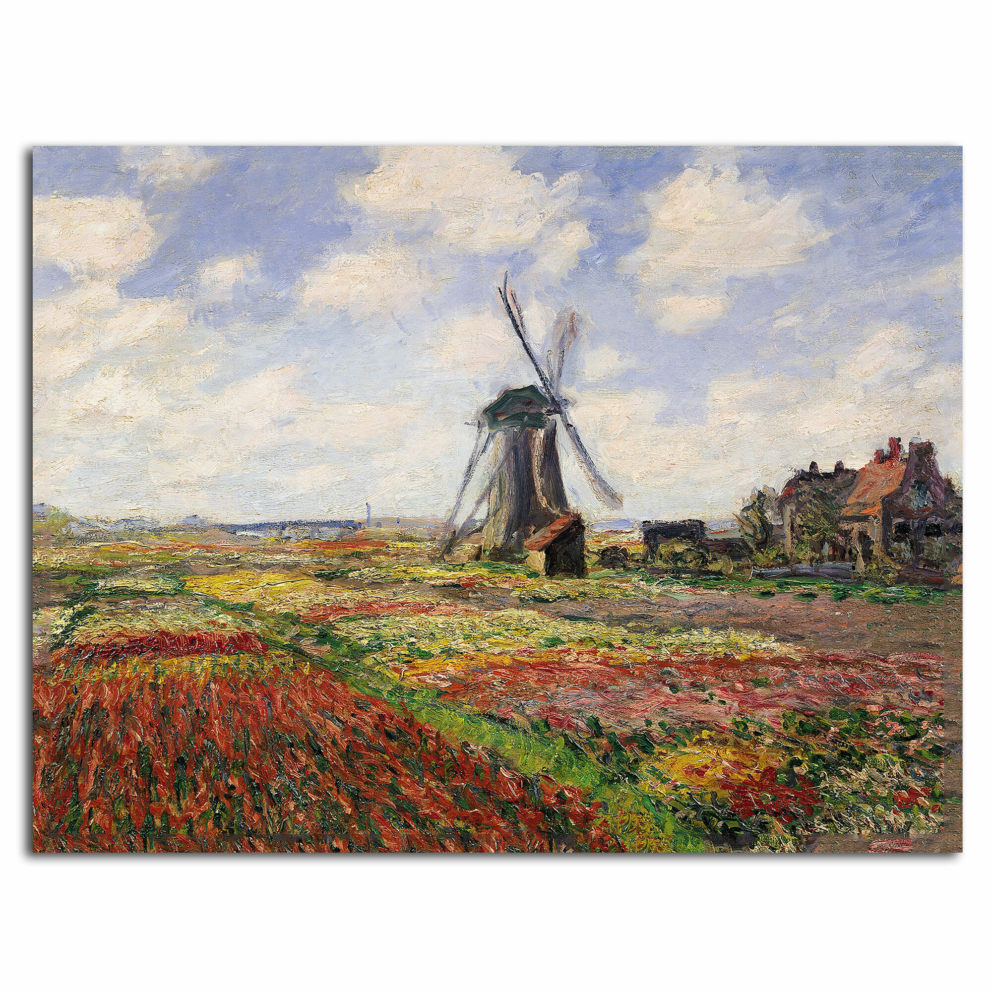 Vintage painting art claude monet  tulip fields flower canvas windmill Holland