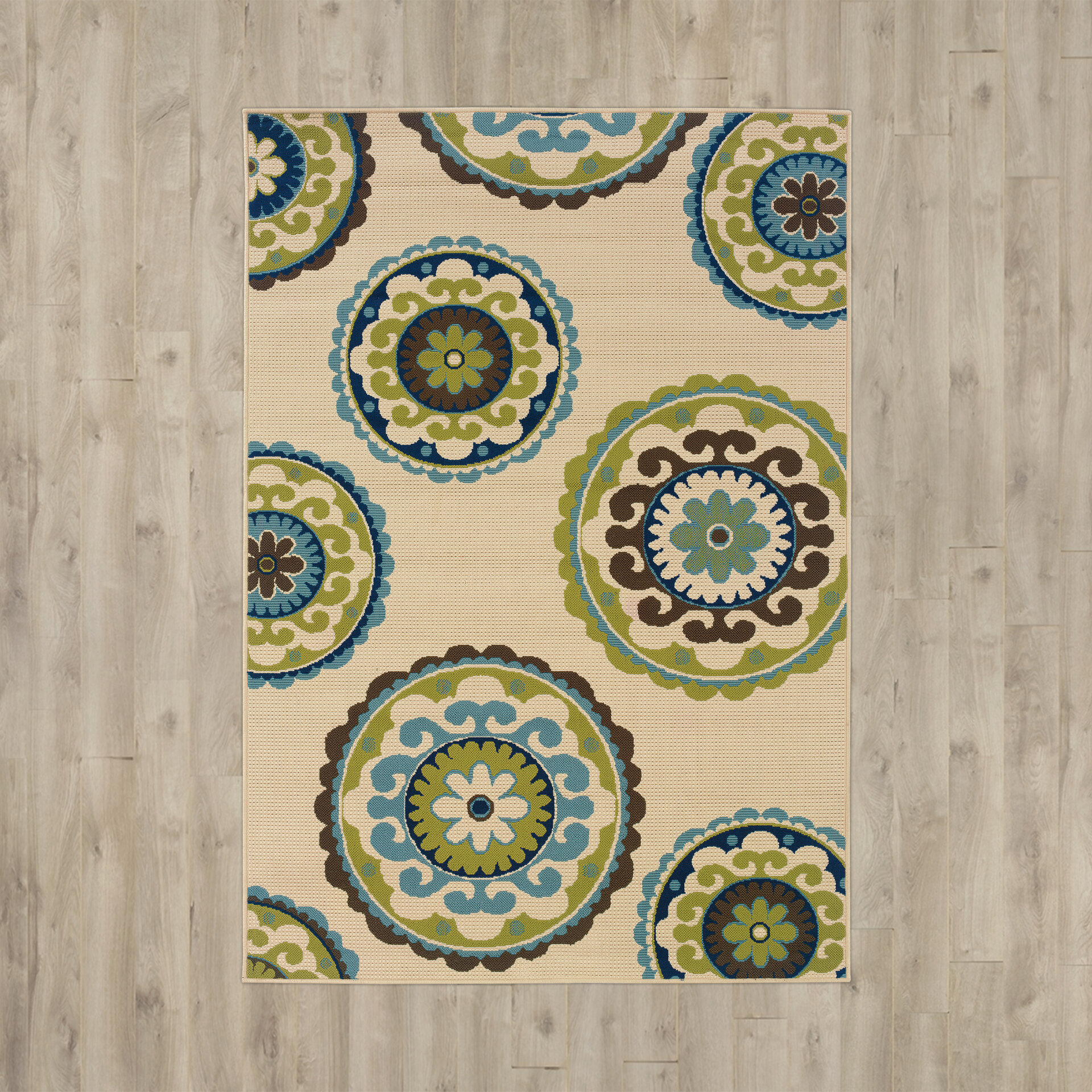 Bungalow Rose Capri Beigegreen Indooroutdoor Area Rug & Reviews -