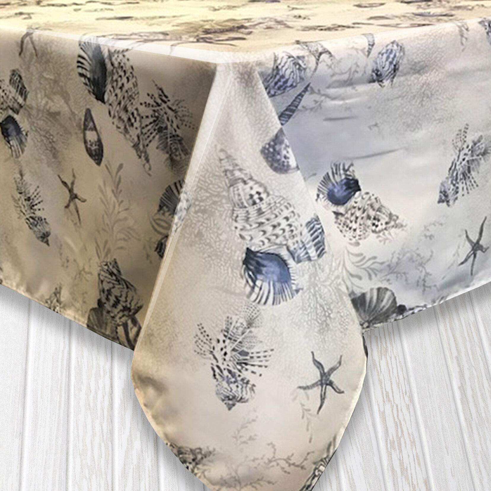 Highland Dunes Zoey Ocean Indoor/Outdoor Tablecloth & Reviews | Wayfair
