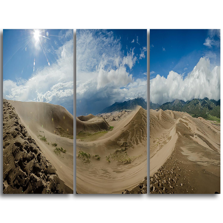 Designart Massive Sand Dunes Panorama 3 Piece Graphic Art On Wrapped Canvas Set Wayfair