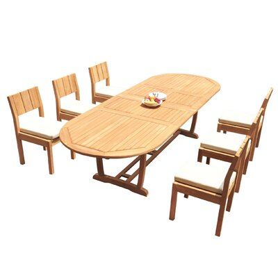 Fauntleroy 7 Piece Teak Dining Set by Rosecliff Heights 2020 Sale