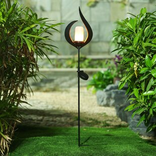 Winsome House Metal Fire Solar Garden Stake Pathway Light