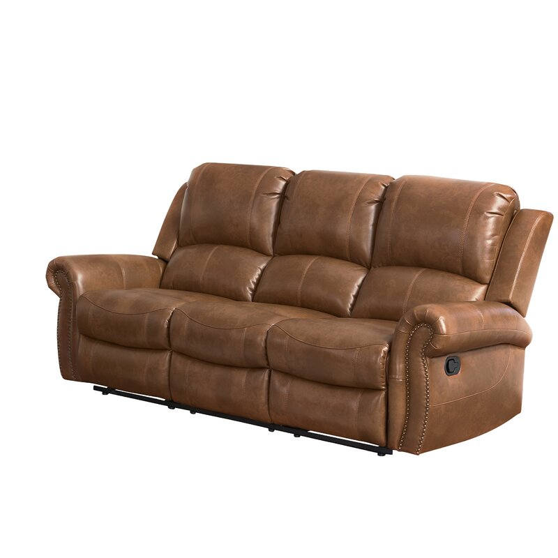 Darby Home Co Vanhoy 86 Wide Genuine Leather Pillow Top Arm Reclining Sofa Reviews Wayfair