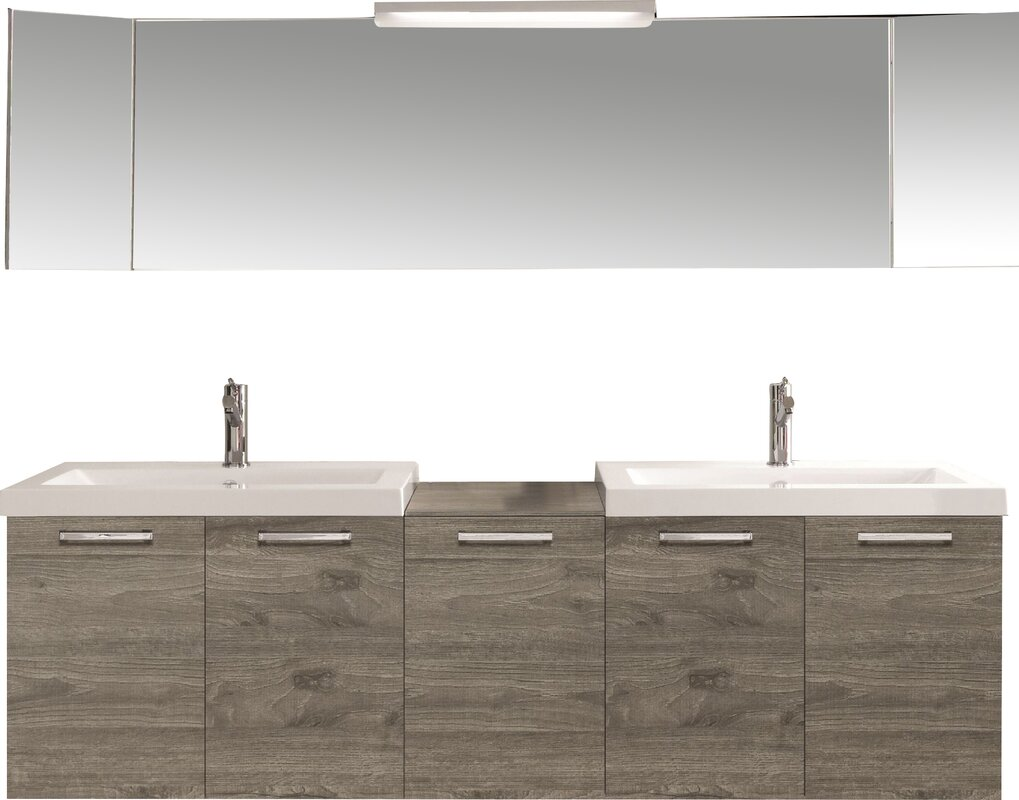 "69"" double modern bathroom vanity set & reviews 