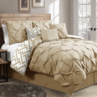 Parma 7-Piece Reversible Comforter Set Brayden Studio Color: Taupe, Size: King Comforter + 6 Additional Pieces