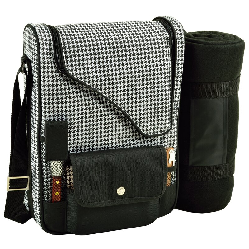 Picnic At Ascot 2 Can Houndstooth Bordeaux Wine And Cheese Picnic Cooler Wayfair