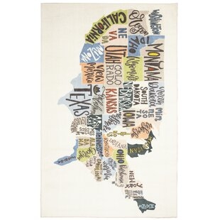 Find for Engler States Map Beige/Blue Area Rug ByZoomie Kids