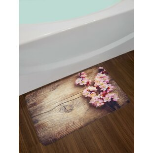Floral Spring Blossom on Wooden Table Romantic Natural Farmhouse Print Non-Slip Plush Bath Rug
