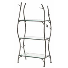 Sassafras 3-Tier Double Width Standing Tile Shelf 55 Etagere Bookcase by Stone County Ironworks
