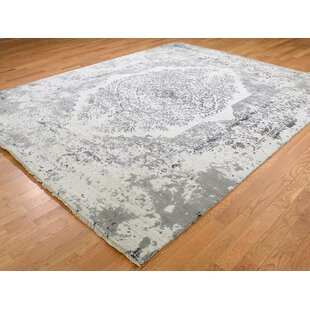 Purchase One-of-a-Kind Beane Broken Tone on Tone Hand-Knotted 8'2 x 10' Wool/Silk Gray/White Area Rug By Isabelline