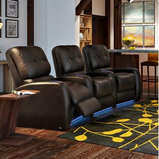 Large Blue LED Home Theater Curved Row Seating (Row of 3) Latitude Run