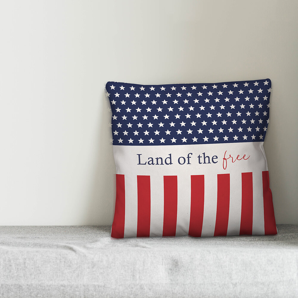 August Grove Wildman Land Of The Free Stars And Stripes Throw Pillow Cover Wayfair