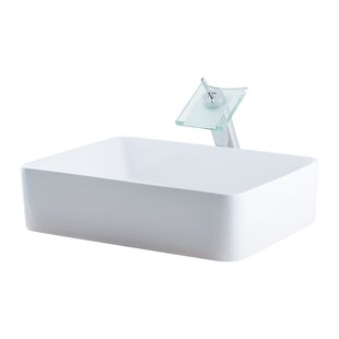 Novatto Ceramic Rectangular Vessel Bathroom Sink with Faucet