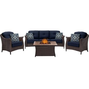 Daigle 4 Piece Sunbrella Sofa Set with Cushions