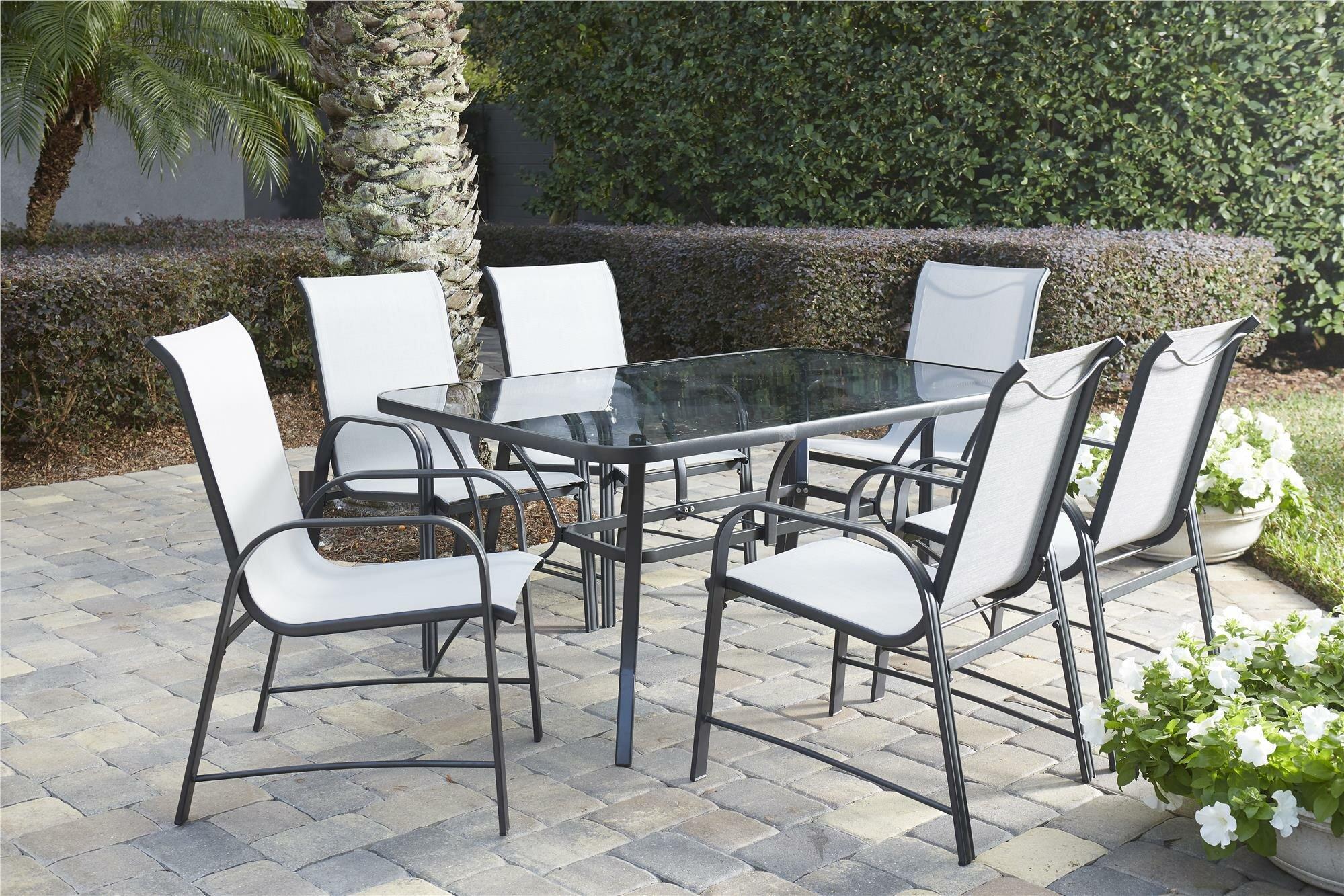 & Ebern Designs Osprey 7 Piece Patio Dining Set u0026 Reviews   Wayfair