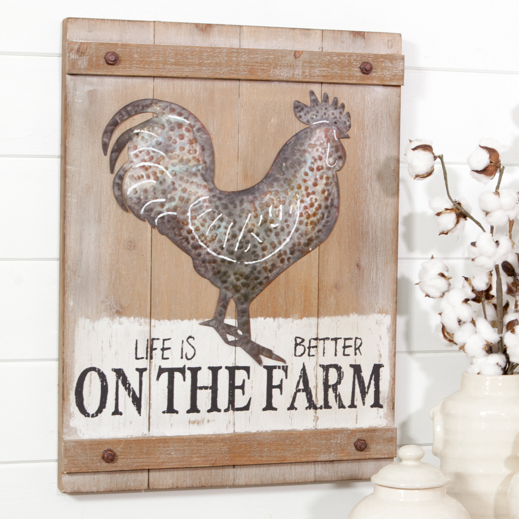 NEW~Distressed Red Sheet Metal Rooster Wall Hanging Farmhouse Decor Chicken