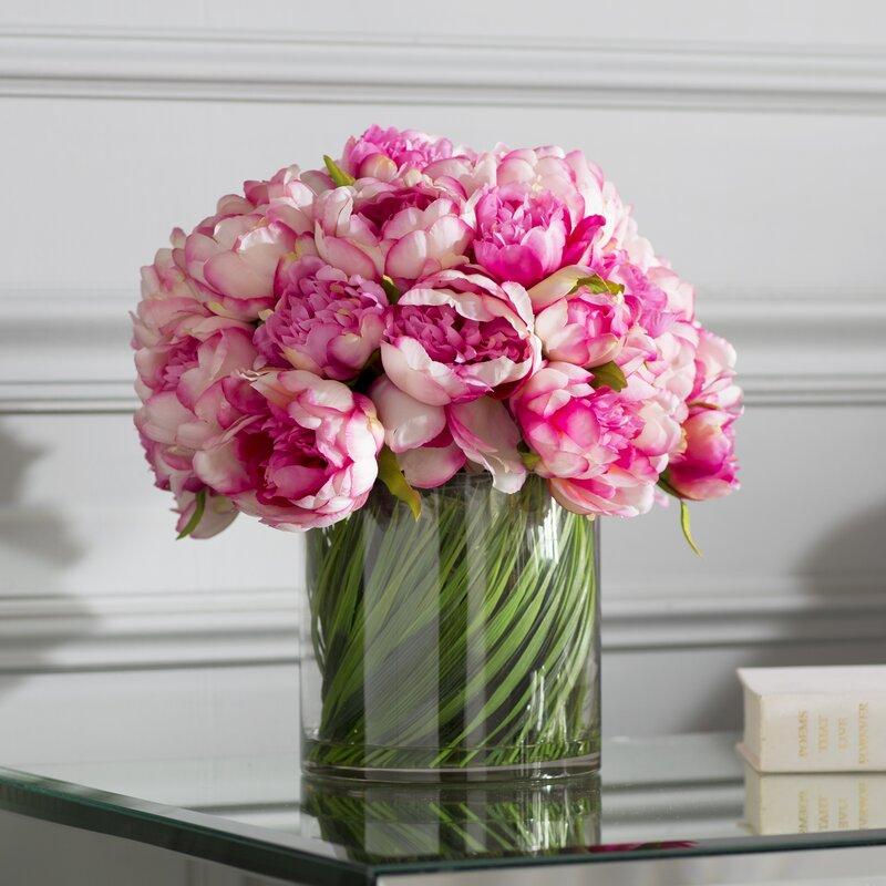 Willa Arlo Interiors Faux Magenta Pink Peony Floral Arrangement