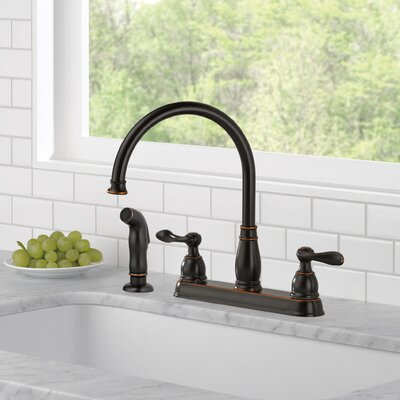 Delta Windemere Double Handle Kitchen Faucet With Side Spray