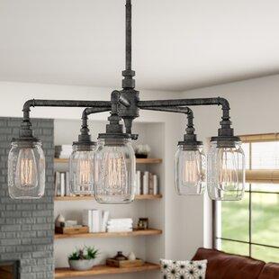 Wicker chandelier shades wayfair bryn 5 light shaded chandelier aloadofball Gallery