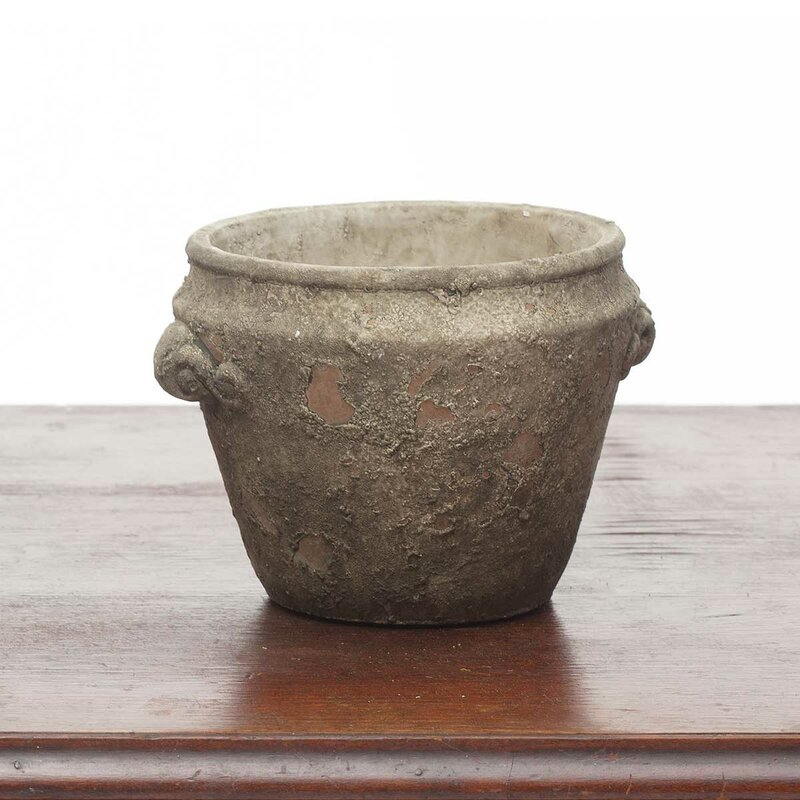 Chalk Decorative Aged Round Concrete Pot Planter