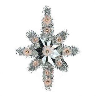 lighted tinsel star of bethlehem christmas tree topper - Lighted Star Christmas Tree Topper