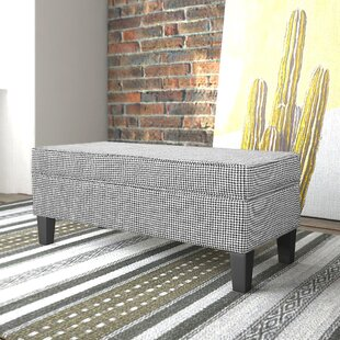 Charlton Home Patterson Ebony Houndstooth Upholstered Storage Bench with Piping
