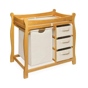 Perfect Ocean Alexander Sleigh Style Baby Changing Table With 3 Baskets And Hamper