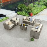 Wragby Wicker/Rattan 6 - Person Seating Group with Cushions