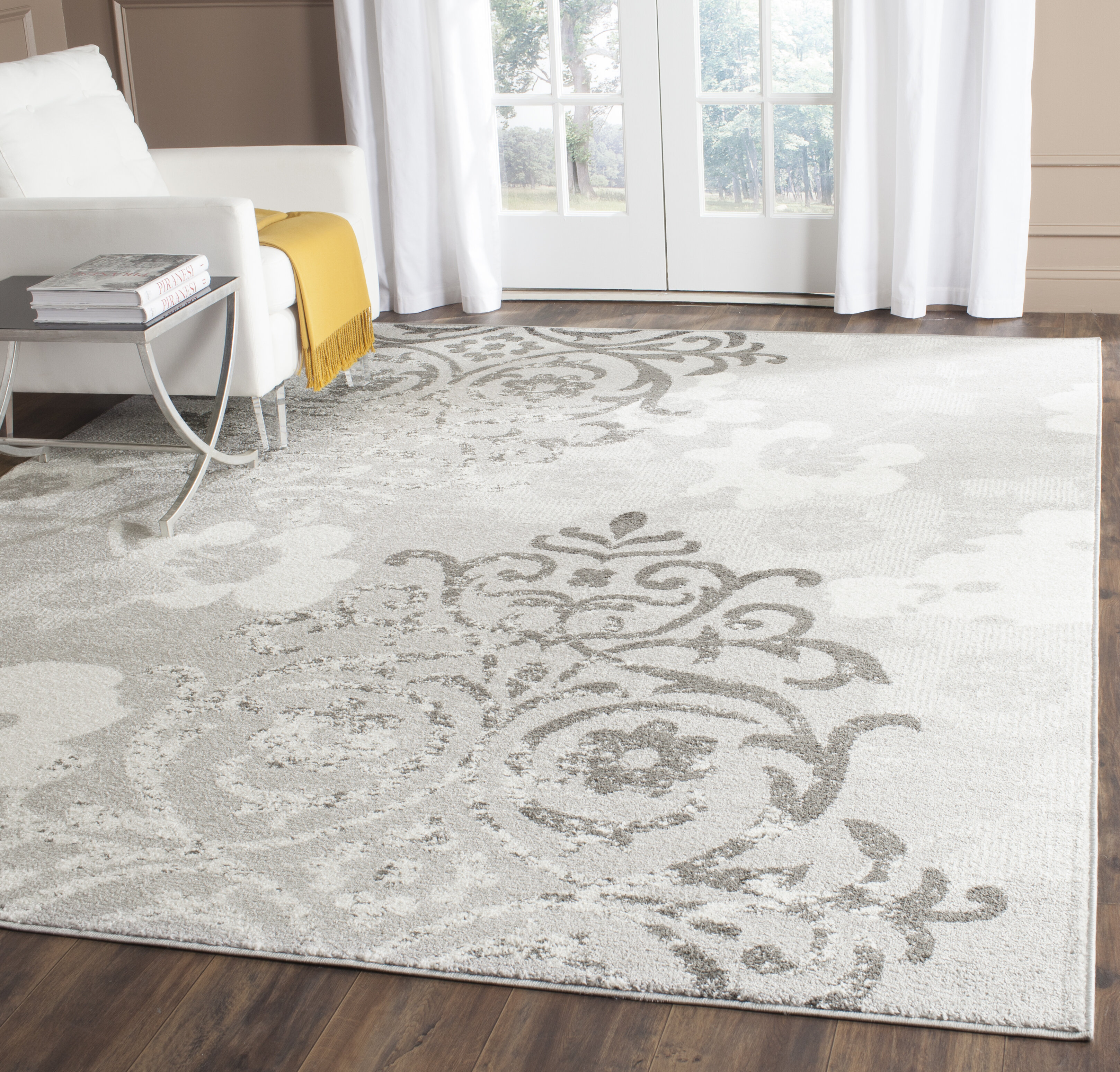 Willa Arlo Interiors Frizzell Floral Gray Area Rug Reviews Wayfair