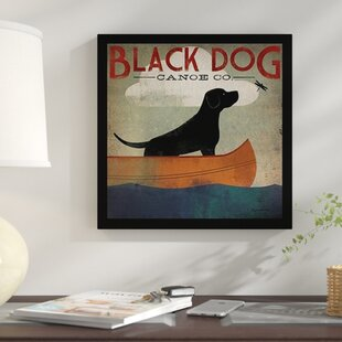 Charmant U0027Black Dog Canoeu0027 Framed Graphic Art Print