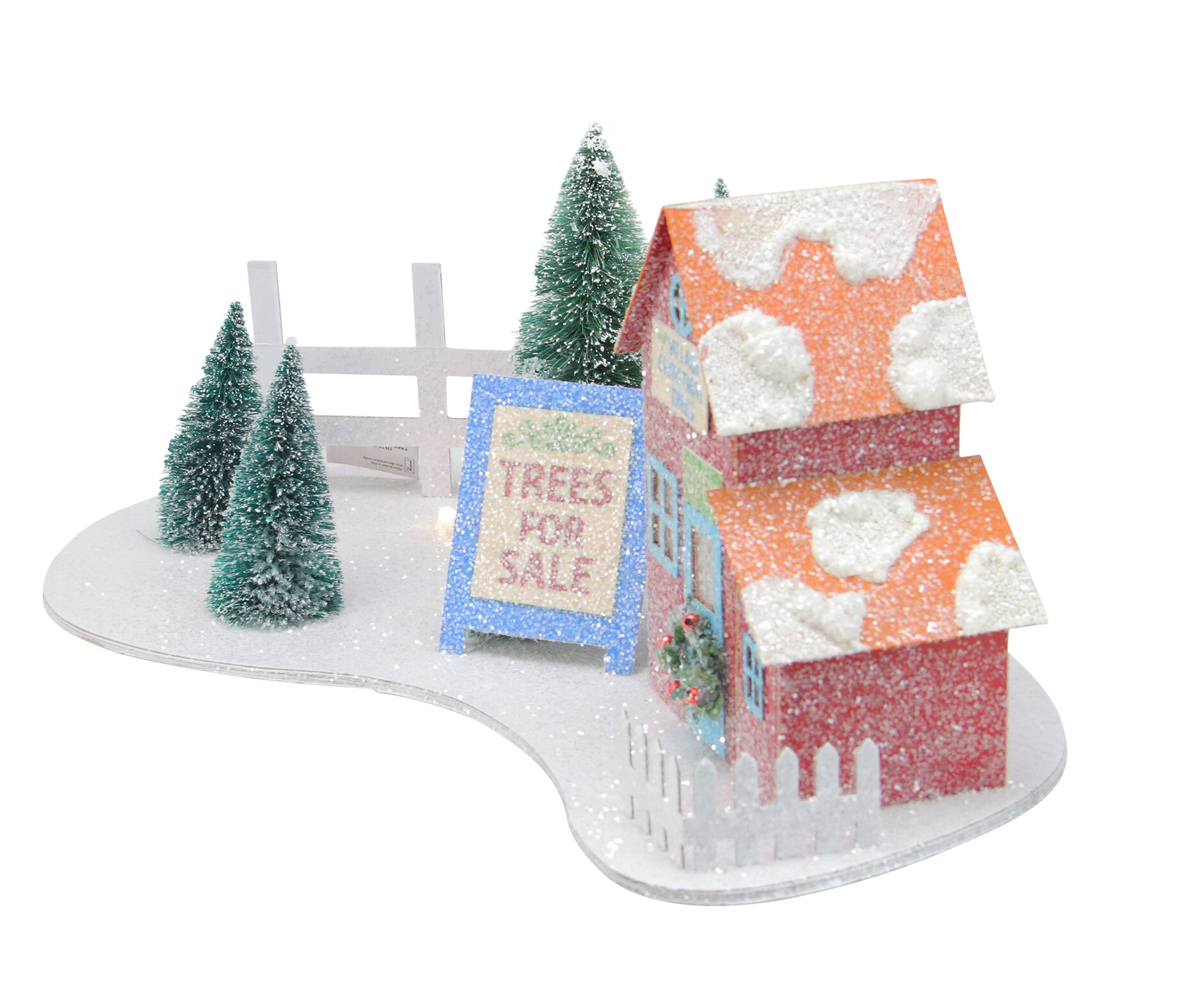Prelit Glittered Christmas Tree Shop With Pine Trees Decorative Accent