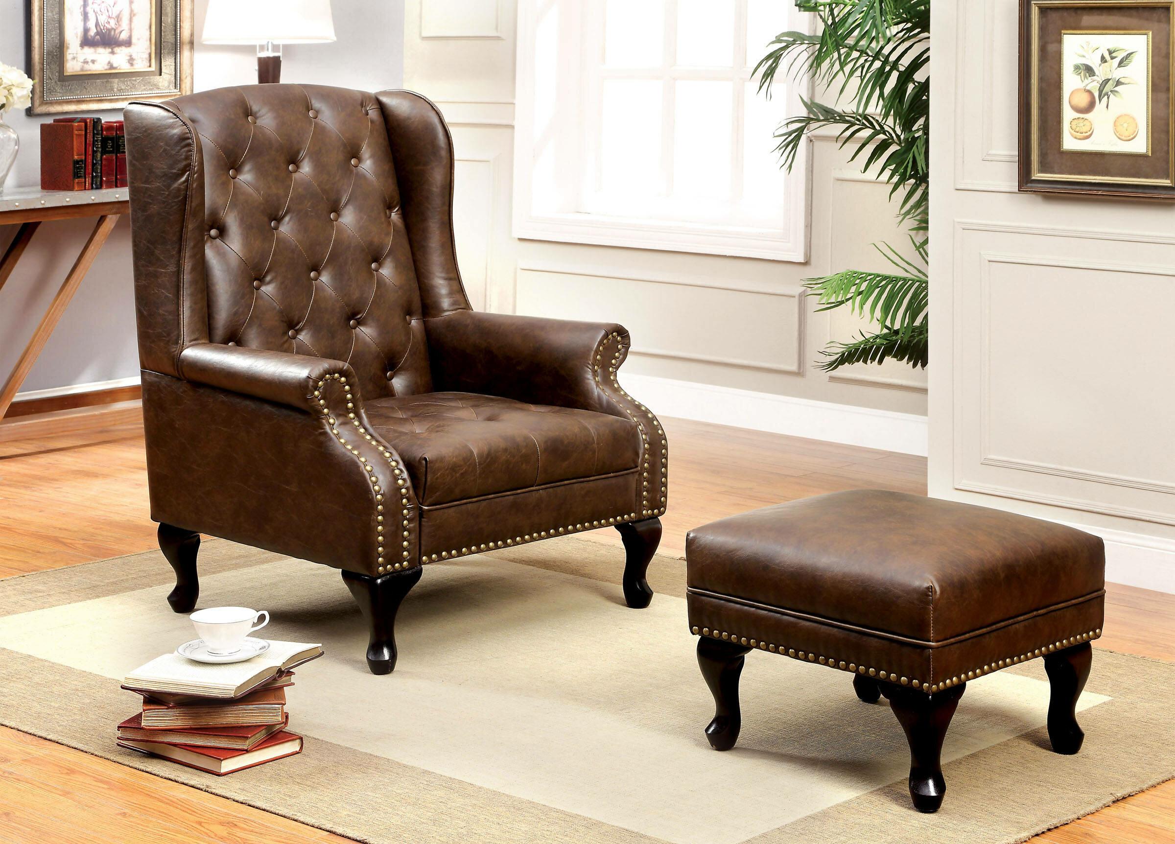 Halvorson Wingback Chair And Ottoman