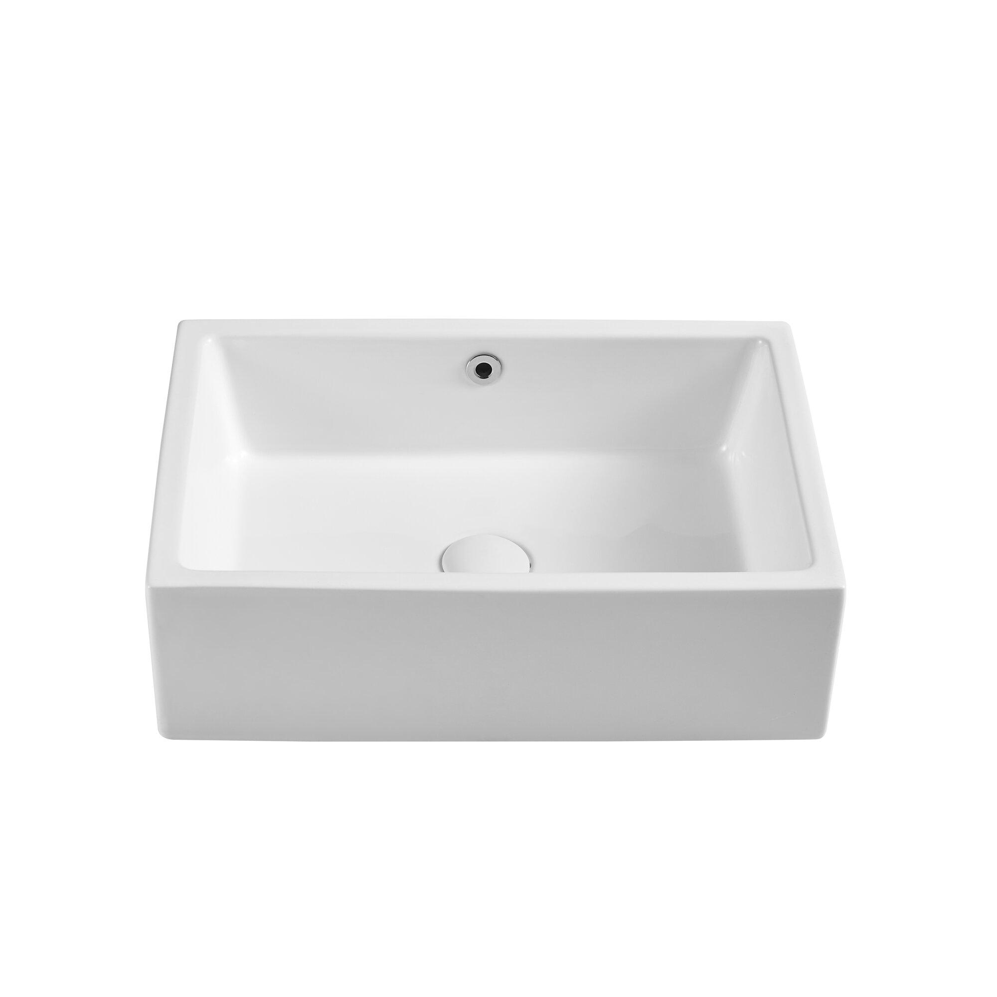 Aufind White Ceramic Rectangular Vessel Bathroom Sink With Overflow Wayfair