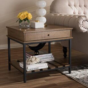 Pillar Rustic Industrial Style End Table by Gracie Oaks