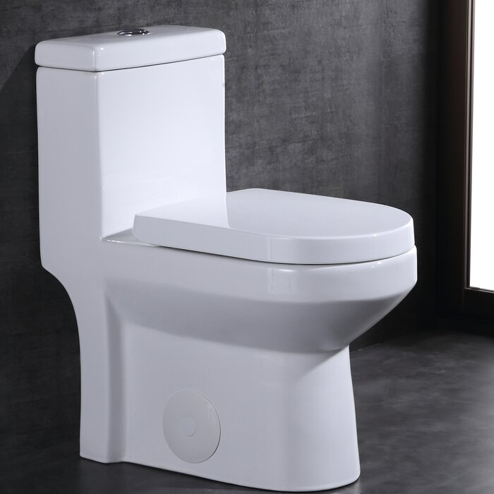 Cool Dual Flush 1 28 Gpf Elongated One Piece Toilet Seat Included Pabps2019 Chair Design Images Pabps2019Com