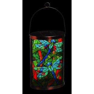 Shufelt Solar Tiffany Inspired Dragonfly Decorative Lantern by Red Barrel Studio