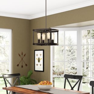 Dunnstown Farmhouse Convertible Ceiling 4 Light Drum Chandelier