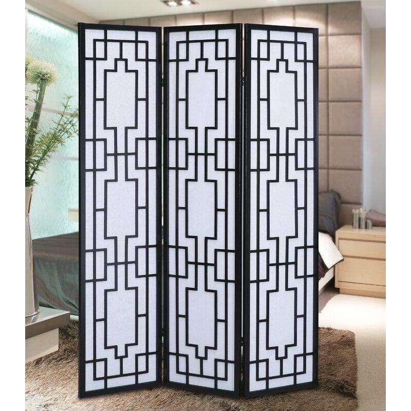 Black/White Onshuntay Screen 3 Panel Room Divider