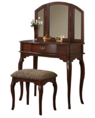 Otega Vanity Set with Mirror Color: Cherry by Alcott Hill