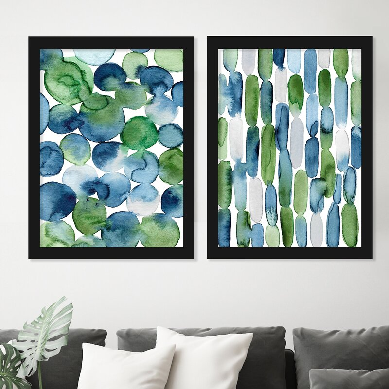 Watercolor Blue Green Strokes by Lisa Nohren - 2 Piece Painting Print Set