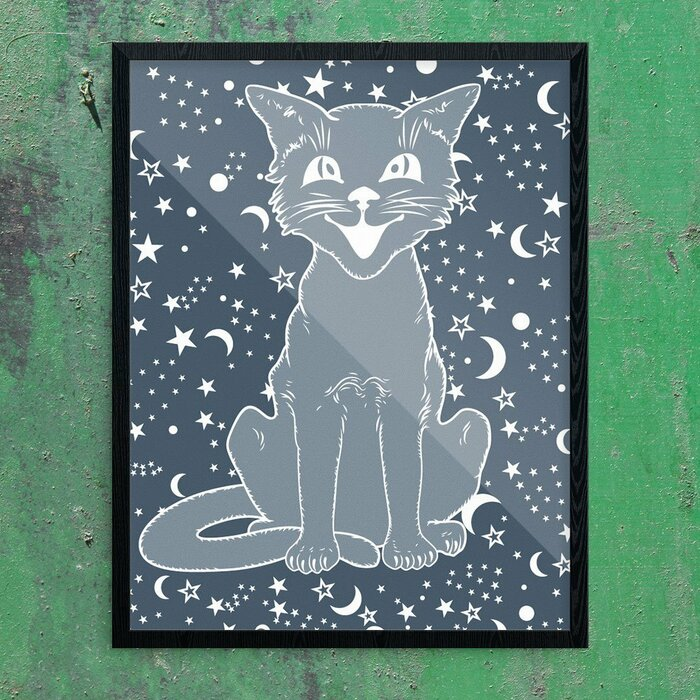 \u0027Vintage Halloween Cat on Navy\u0027 Graphic Art Print