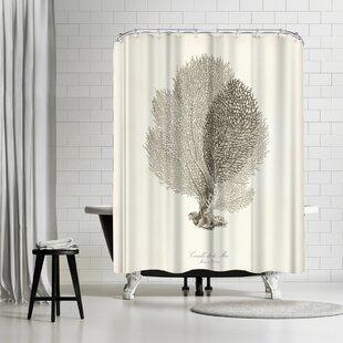 Adams Ale Greige Sea Fan Shower Curtain
