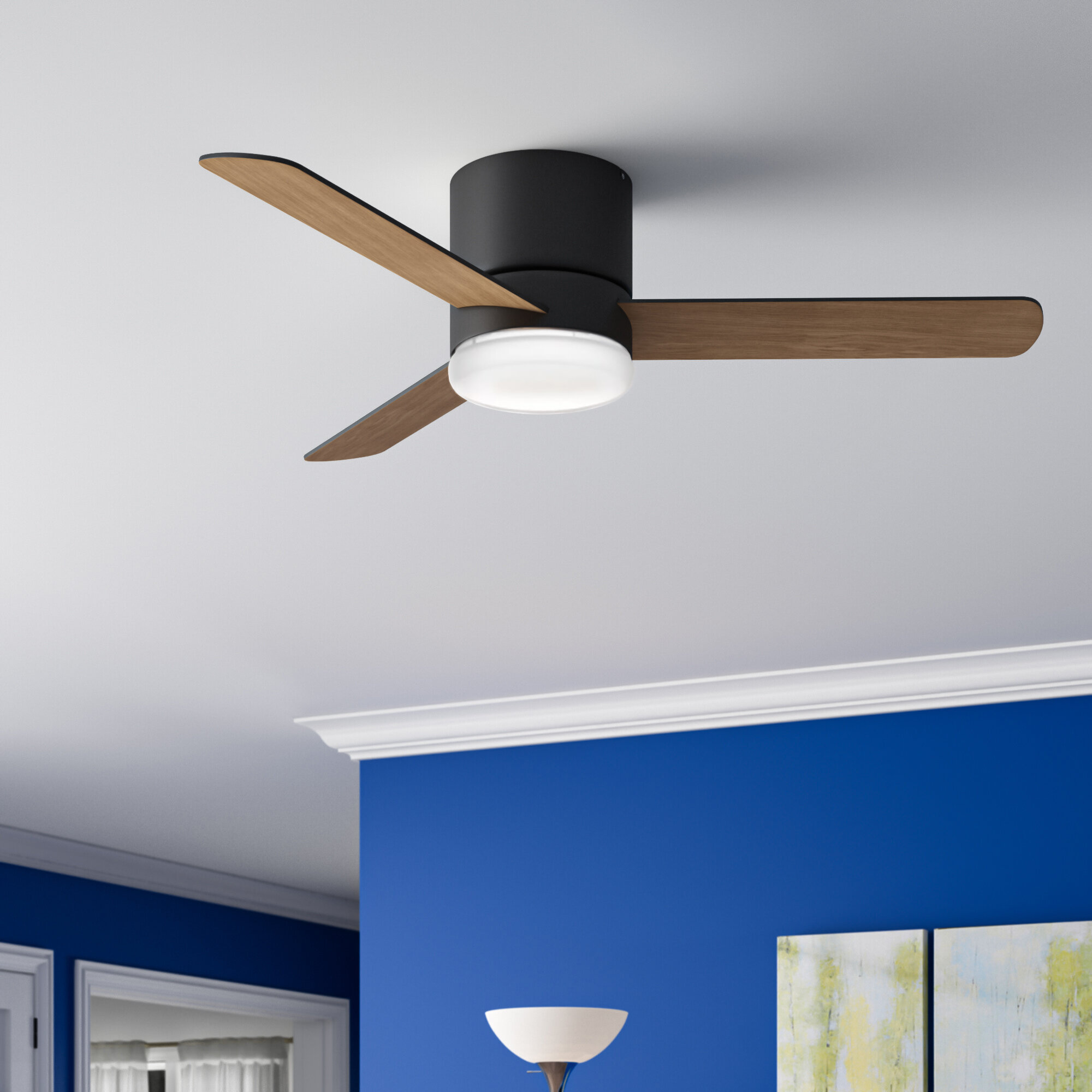 Hunter Fan 44 Minimus 3 Blade Led Flush Mount Ceiling Fan With Remote Control And Light Kit Included Reviews Wayfair