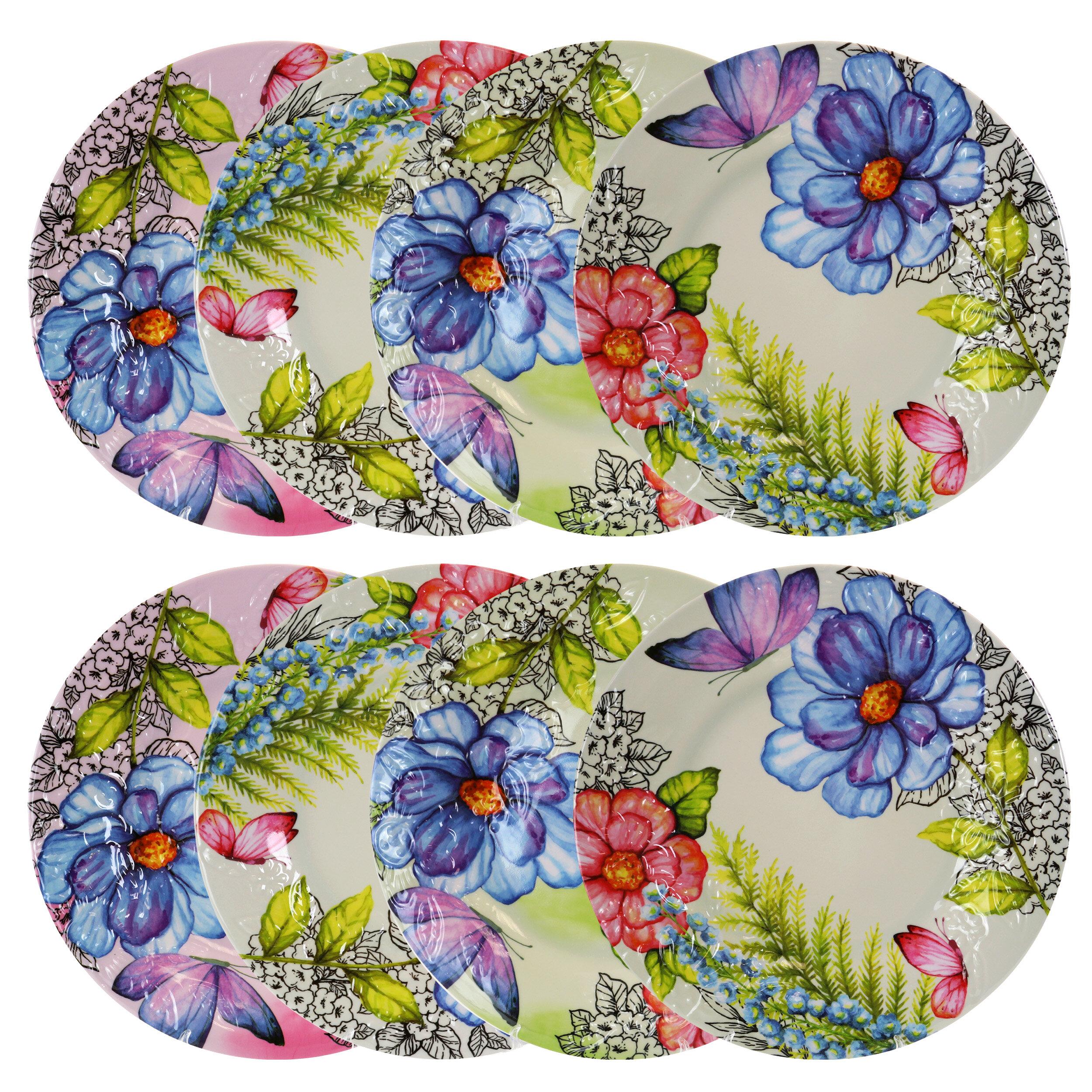 Ebern Designs Thibaut 8 Piece 11 5 Melamine Dinneware Plate Set Reviews Wayfair