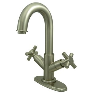 Elements of Design South Beach Double Cross Handle Bathroom Faucet with Push-Up Pop-Up and Plate Image