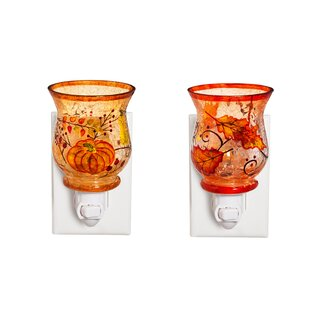 Cypress Home 2 Piece Harvest Pumpkin Cloche Glass Night Light Set