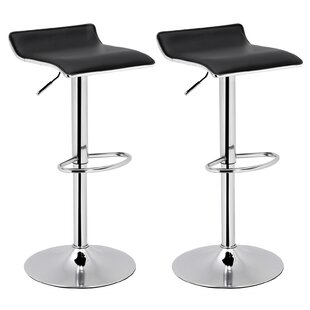 Gervais Adjustable Height Swivel Bar Stool (Set of 2) by Orren Ellis