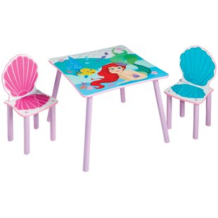 Disney Princess Ariel Children's 3 Piece Table And Chair Set By Disney Princess