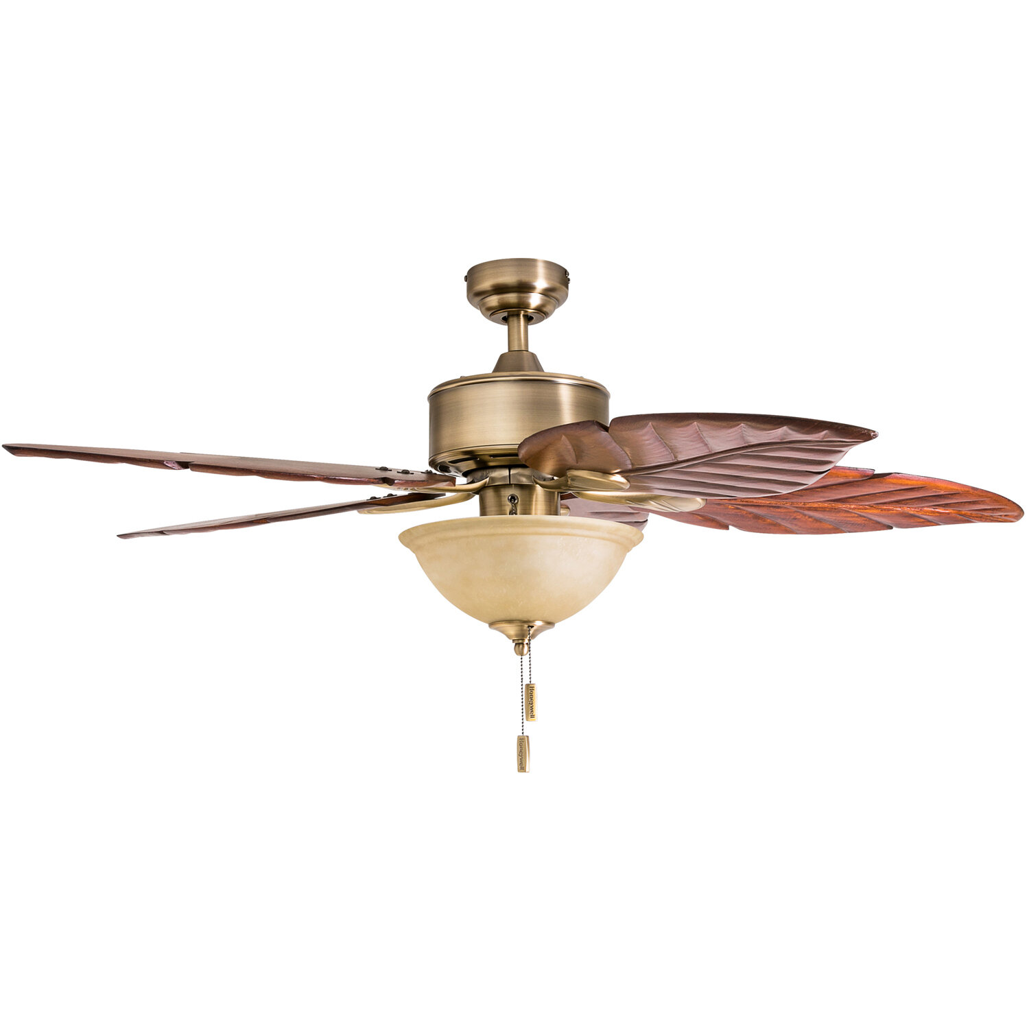 Charlton Home 52 Isanti 5 Blade Leaf Blade Ceiling Fan With Pull Chain And Light Kit Included Reviews Wayfair